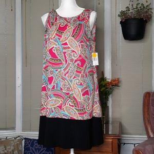 🆕️ NWT RN Studio sleeveless paisley w black trim